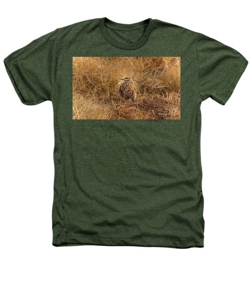 Meadowlark Hiding In Grass Heathers T-Shirt by Robert Frederick