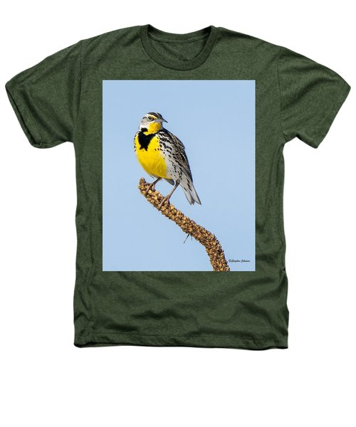 Meadowlark On Mullein Stalk Heathers T-Shirt by Stephen Johnson
