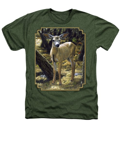 Mule Deer Fawn - Monarch Moment Heathers T-Shirt by Crista Forest