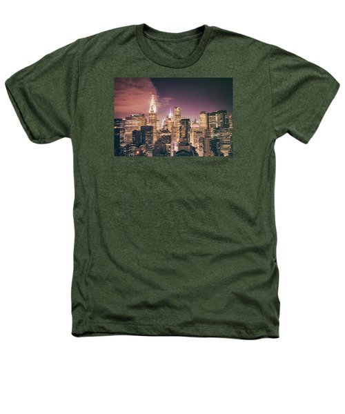 New York City Skyline - Night Heathers T-Shirt by Vivienne Gucwa