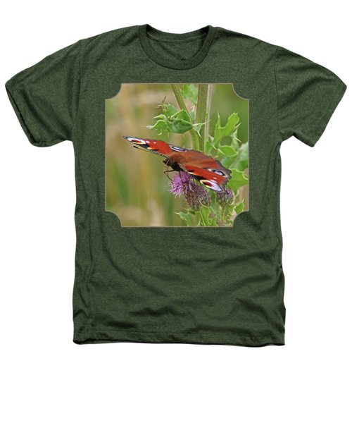 Peacock Butterfly On Thistle Square Heathers T-Shirt by Gill Billington