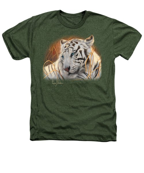 Portrait White Tiger 1 Heathers T-Shirt by Lucie Bilodeau