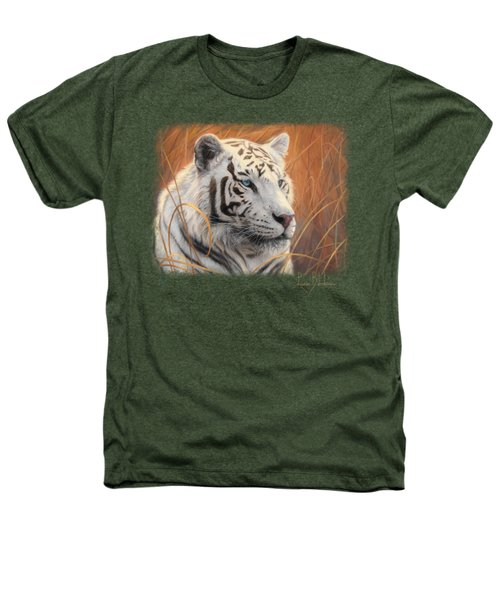 Portrait White Tiger 2 Heathers T-Shirt by Lucie Bilodeau