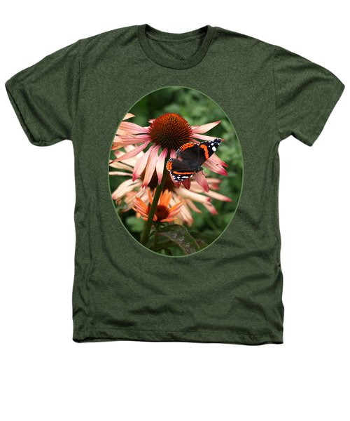 Red Admiral On Coneflower Heathers T-Shirt by Gill Billington