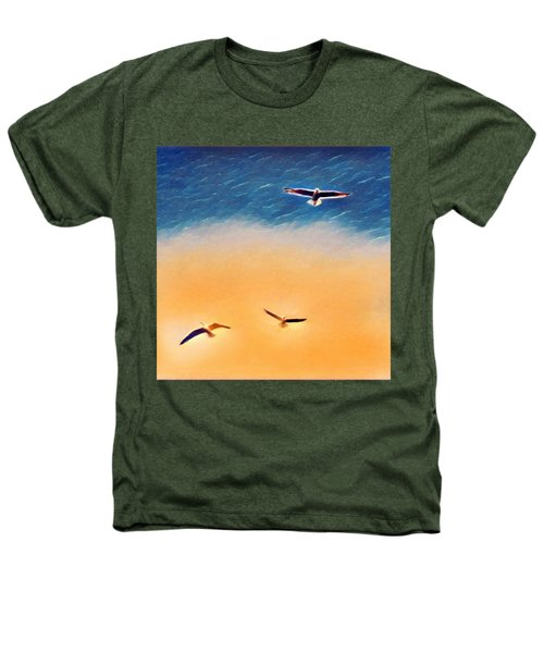 Seagulls Flying In The Burning Sky Heathers T-Shirt by Paul Mc Namara