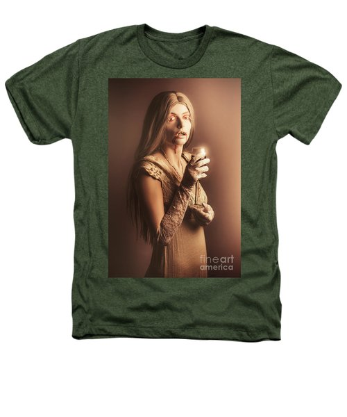 Spooky Vampire Girl Drinking A Glass Of Red Wine Heathers T-Shirt by Jorgo Photography - Wall Art Gallery