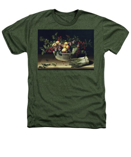 Still Life With A Basket Of Fruit And A Bunch Of Asparagus Heathers T-Shirt by Louise Moillon