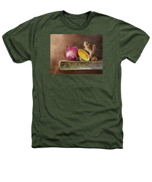 Still Life With Onion Lemon And Ginger Heathers T-Shirt by Irina Sztukowski