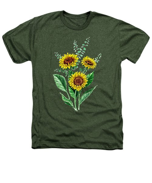 Three Playful Sunflowers Heathers T-Shirt by Irina Sztukowski