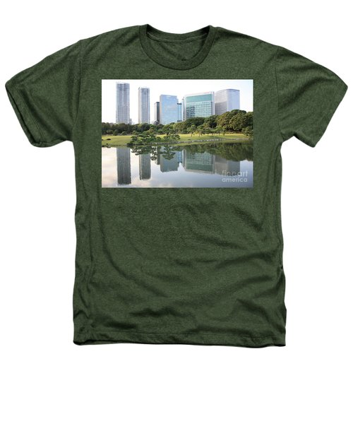 Tokyo Skyline Reflection Heathers T-Shirt by Carol Groenen