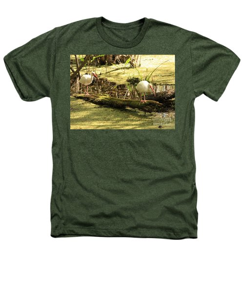 Two Ibises On A Log Heathers T-Shirt by Carol Groenen
