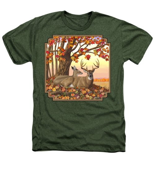Whitetail Deer - Hilltop Retreat Heathers T-Shirt by Crista Forest