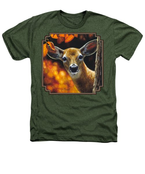 Whitetail Deer - Surprise Heathers T-Shirt by Crista Forest