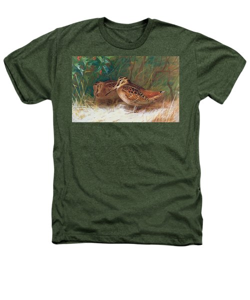 Woodcock In The Undergrowth Heathers T-Shirt by Archibald Thorburn