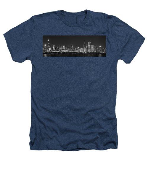 Chicago Skyline At Night Black And White Panoramic Heathers T-Shirt by Adam Romanowicz