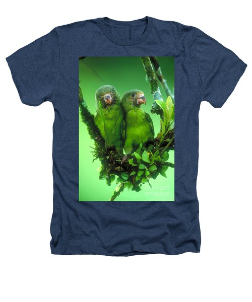 Cobalt-winged Parakeets Heathers T-Shirt by Art Wolfe