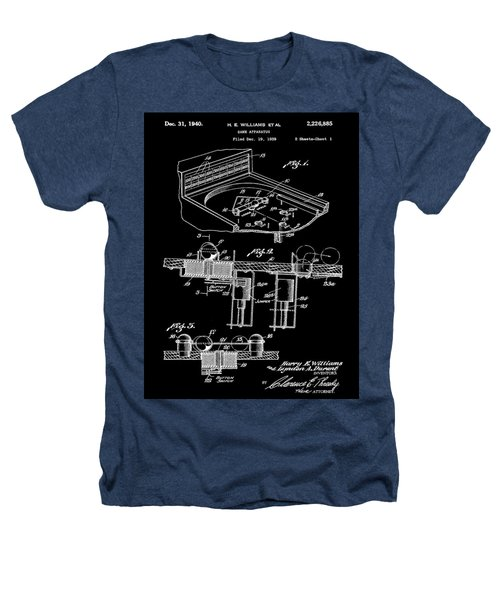 Pinball Machine Patent 1939 - Black Heathers T-Shirt by Stephen Younts