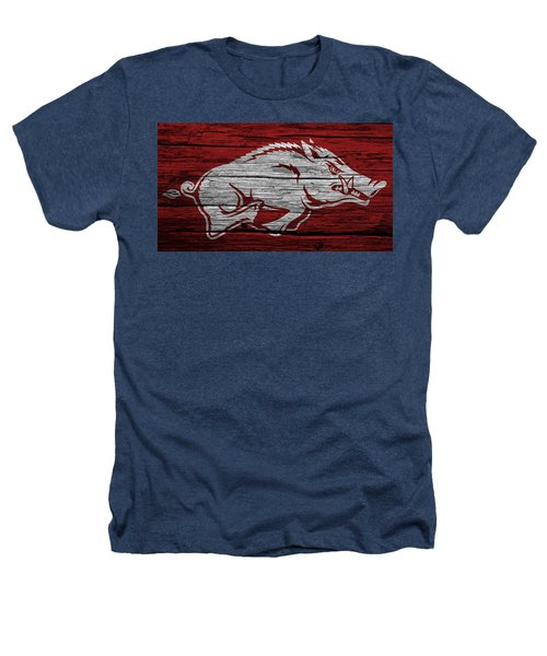 Arkansas Razorbacks On Wood Heathers T-Shirt by Dan Sproul