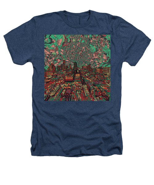 Austin Texas Vintage Panorama 3 Heathers T-Shirt by Bekim Art