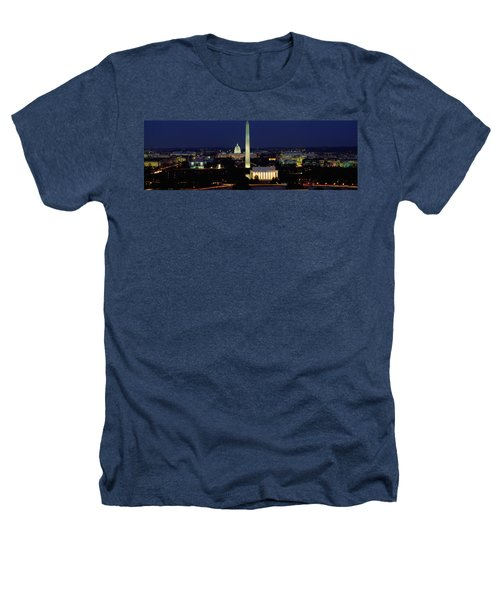Buildings Lit Up At Night, Washington Heathers T-Shirt by Panoramic Images