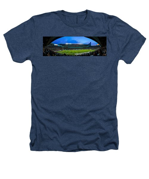 Chicago Bears At Soldier Field Heathers T-Shirt by Steve Gadomski