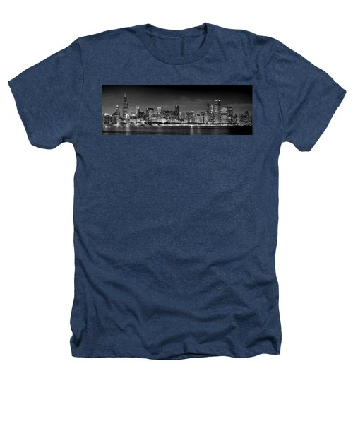 Chicago Skyline At Night Black And White Heathers T-Shirt by Jon Holiday