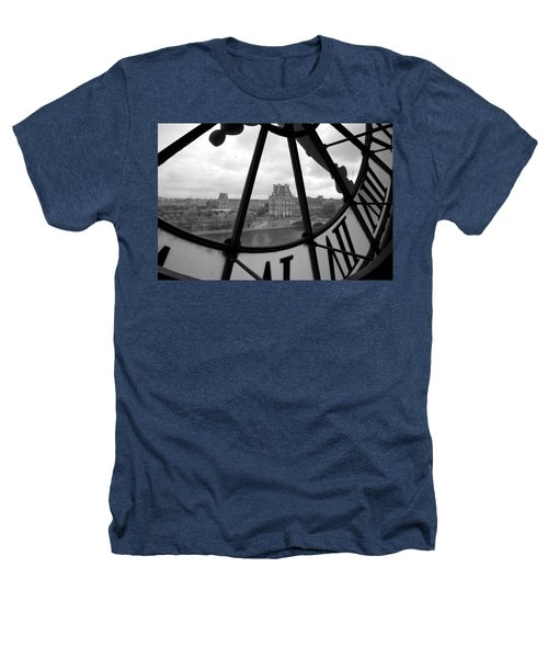 Clock At Musee D'orsay Heathers T-Shirt by Chevy Fleet