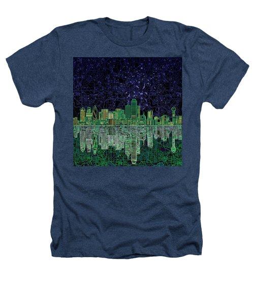 Dallas Skyline Abstract 4 Heathers T-Shirt by Bekim Art