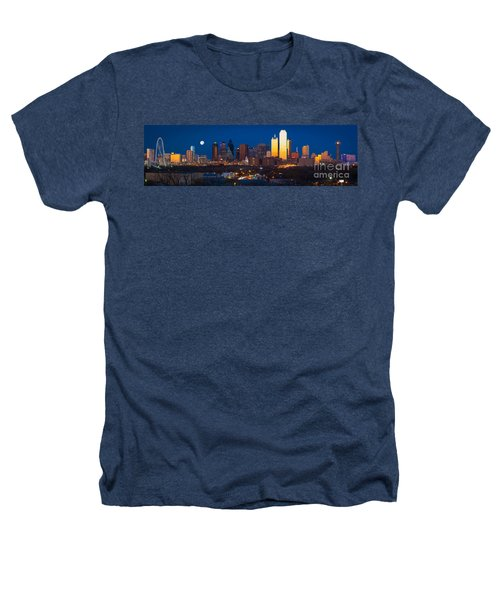 Dallas Skyline Panorama Heathers T-Shirt by Inge Johnsson