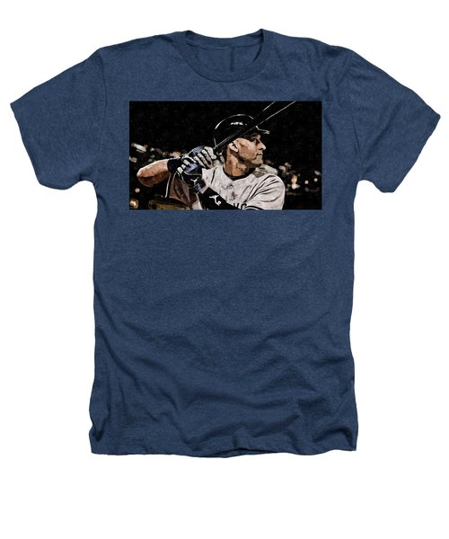 Derek Jeter On Canvas Heathers T-Shirt by Florian Rodarte