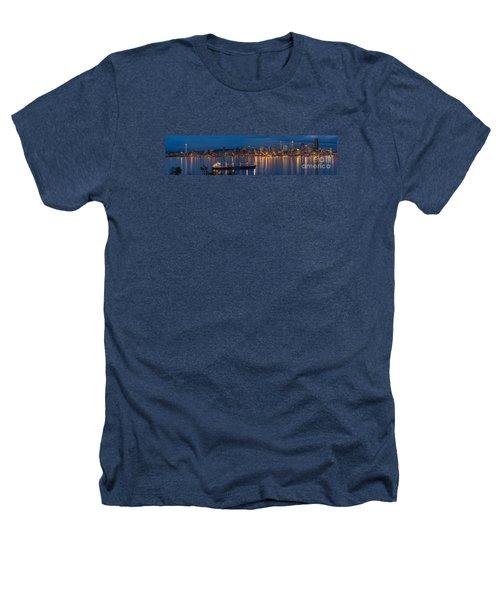 Elliott Bay Seattle Skyline Night Reflections  Heathers T-Shirt by Mike Reid