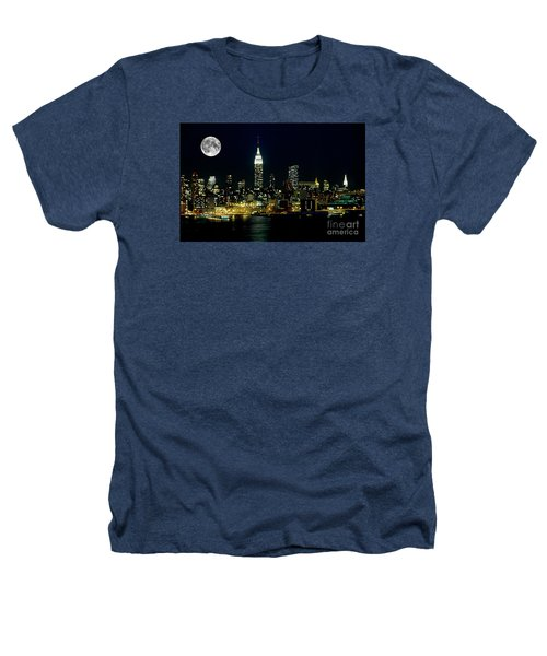 Full Moon Rising - New York City Heathers T-Shirt by Anthony Sacco