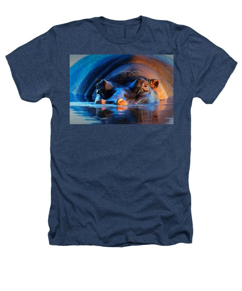 Hippopotamus  At Sunset Heathers T-Shirt by Johan Swanepoel
