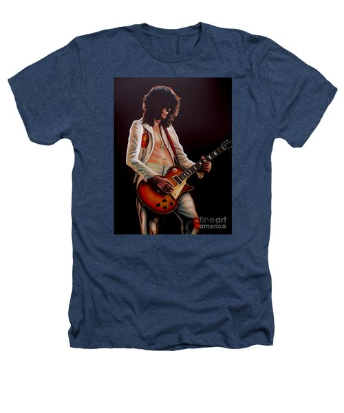 Jimmy Page In Led Zeppelin Painting Heathers T-Shirt by Paul Meijering