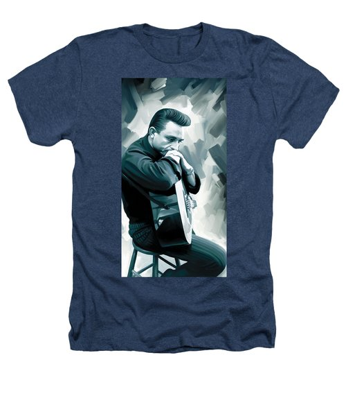Johnny Cash Artwork 3 Heathers T-Shirt by Sheraz A