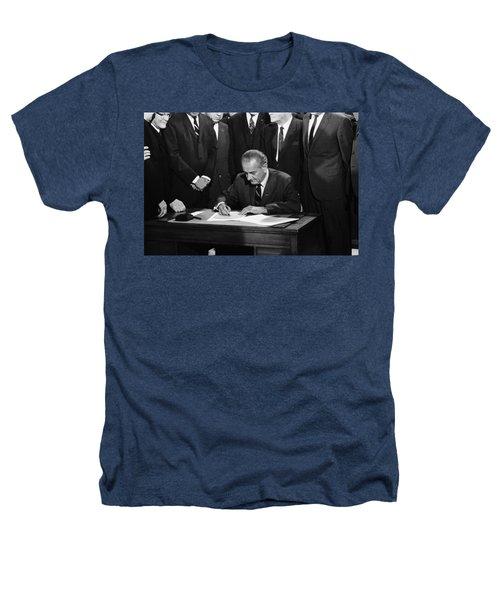 Lbj Signs Civil Rights Bill Heathers T-Shirt by Underwood Archives Warren Leffler