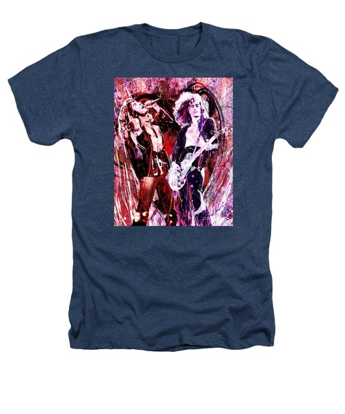 Led Zeppelin - Jimmy Page And Robert Plant Heathers T-Shirt by Ryan Rock Artist