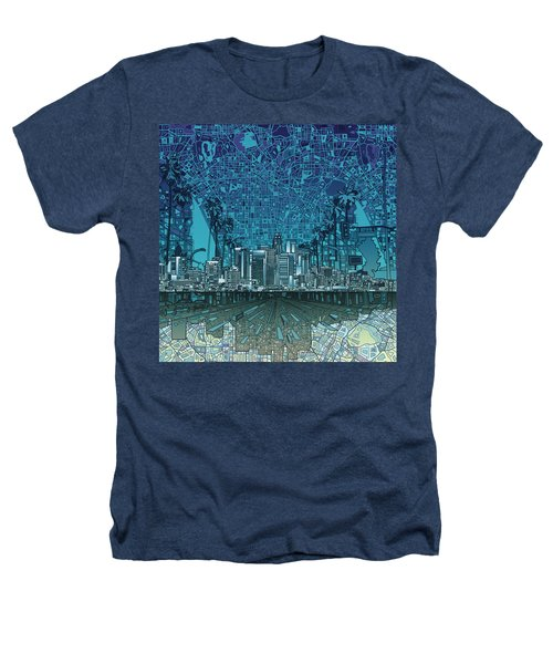 Los Angeles Skyline Abstract 5 Heathers T-Shirt by Bekim Art