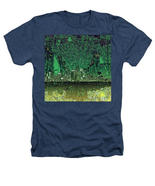 Los Angeles Skyline Abstract 6 Heathers T-Shirt by Bekim Art