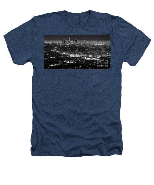 Los Angeles Skyline At Night Monochrome Heathers T-Shirt by Bob Christopher