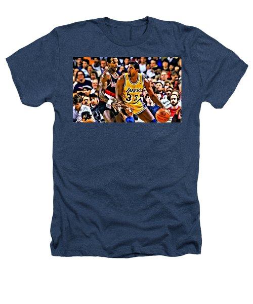 Magic Johnson Vs Clyde Drexler Heathers T-Shirt by Florian Rodarte