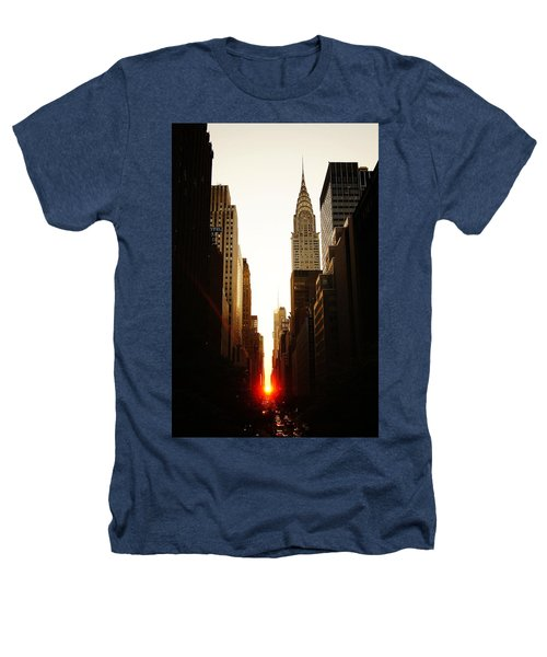 Manhattanhenge Sunset And The Chrysler Building  Heathers T-Shirt by Vivienne Gucwa