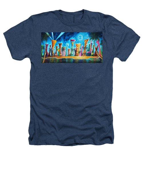 Miami City South Beach Original Painting Tropical Cityscape Art Miami Night Life By Madart Absolut X Heathers T-Shirt by Megan Duncanson