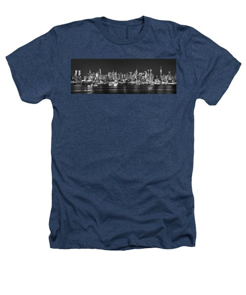 New York City Nyc Skyline Midtown Manhattan At Night Black And White Heathers T-Shirt by Jon Holiday