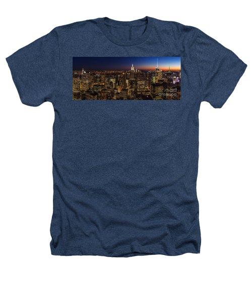 New York City Skyline At Dusk Heathers T-Shirt by Mike Reid