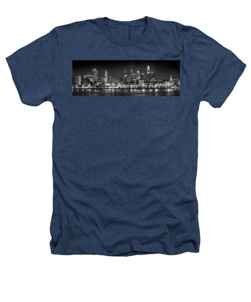 Philadelphia Philly Skyline At Night From East Black And White Bw Heathers T-Shirt by Jon Holiday