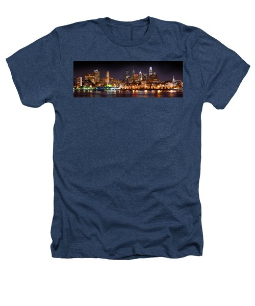 Philadelphia Philly Skyline At Night From East Color Heathers T-Shirt by Jon Holiday