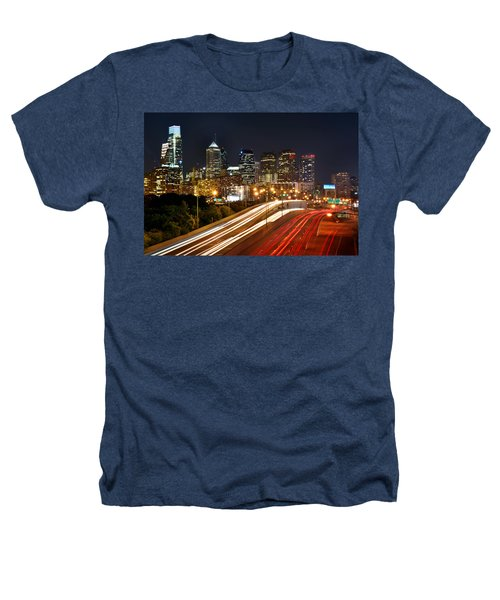 Philadelphia Skyline At Night In Color Car Light Trails Heathers T-Shirt by Jon Holiday