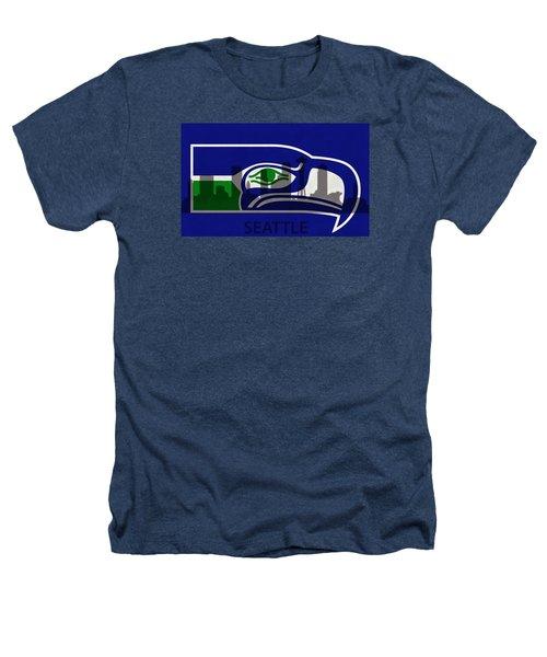 Seattle Seahawks On Seattle Skyline Heathers T-Shirt by Dan Sproul