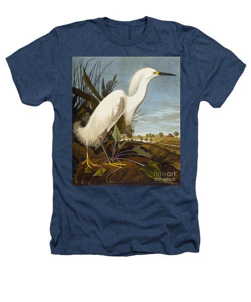 Snowy Heron Or White Egret Heathers T-Shirt by John James Audubon